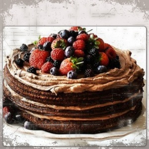 chocolate and strawberry birthday cake