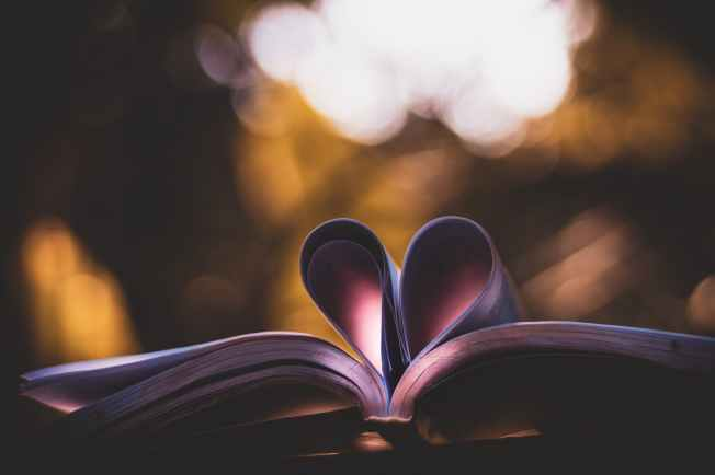 heart book art on bokeh photography